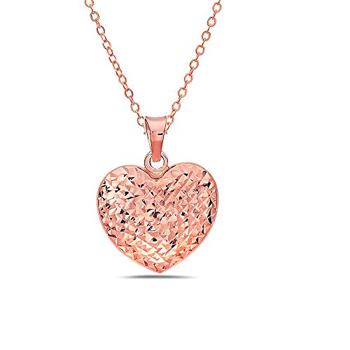 Pori Jewelers 14K Solid Gold Heart Pendant Necklaces - 16