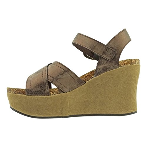 Dumas Hester Sandals Pierre Bronze Leather Strappy Vegan Strap Women's Wedge 9 Ankle d4BTB5q