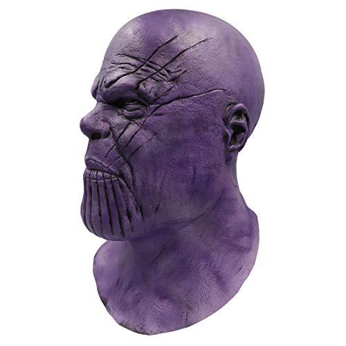 Gankchen Avengers Endgame Thanos Cosplay Shaven Head Helmet Thanos Costume Purple Mask Latex Masque Halloween B -
