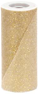 Offray Sparkle Tulle Craft Ribbon, 6-Inch by 25-Yard Spool, Gold