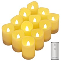Tker Flameless Candles LED Flickering Candles with Remote Battery Powered Realistic Tealights for Seasonal & Festival Celebration Set of 12- Warm White