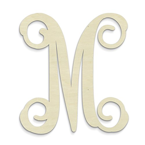 - UNFINISHEDWOODCO Single Vine Unfinished Monogram M Decorative Letter, 13-Inch