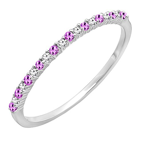 Dazzlingrock Collection 14K Round Amethyst & White Diamond Ladies Anniversary Wedding Band, White Gold, Size 8