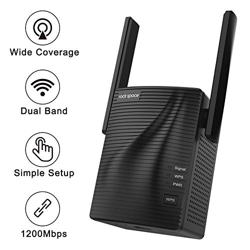 WiFi Range Extender – 1200Mbps WiFi Repeater Wireless Signal Booster, 2.4 & 5GHz Dual Band WiFi Extender with Gigabit Ethernet Port, Simple Setup.