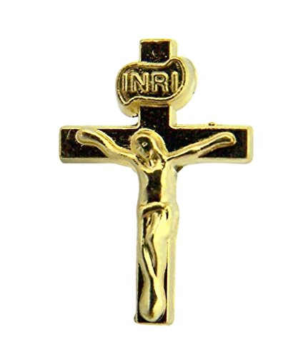Religious Gifts Gold Toned Base Jesus Christ INRI Cross Crucifix Lapel Pin, 3/4 Inch