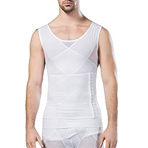 3932ec0372337 Breathable Gynecomastia Compression Hide Man Moobs Clasp Chest Binders Tank  Tops