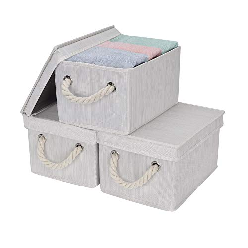 (StorageWorks Storage Bins, DVD Storage Box with Lid and Cotton Rope Handles, Foldable Storage Basket, White, Bamboo Style, 3-Pack, Medium, 11.4x8.7x6.9 inches. (LxWxH))