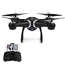 GoolRC S7W Quadcopter Drone with 720P HD Camera Live Video WiFi FPV Sd Card Inserted Altitude Hold One Key Return G-Sensor LED Lights high/Middle/Low Speed RC Kids Gift (Black)