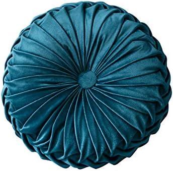 Leezo Almohada de Terciopelo Plisado Redondo con diseño de ...
