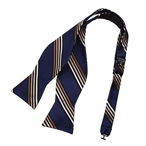 Dan Smith DBA7A21B Navy Tan Black Stripes Bow Tie Microfiber Marriage Presents Hand-model Bow Tie