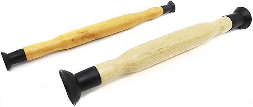 Double Ended Wooden Grip Valve Grinding Stick Hand Lapping Tool Lapper Set 2 Pcs