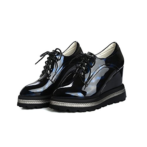 Oxfords Wedge Show Shine Up Lacing Shoes Heel Blue Womens Platform xxBnaR