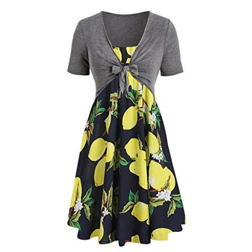 Womens Dresses 2019,Women Fashion Short Sleeve Bow Knot Bandage Top Sunflower Print Party Mini Dress Suits