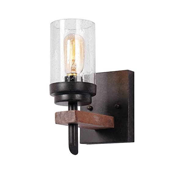 Eumyviv Rustic Wood Wall Sconce with Seeded Glass Shade, Vintage Industrial Hardwire Bathroom Light Log Cabin Home Retro Edison Wall Light Fixtures 1-Light, Black (17804) - QUALITY MATERIALS: Exquisite metal, high transmittance seeded glass and ancient ways finish. The seeded glass shade showcases the bulb beautifully and creates a truly unique look by adding a vintage edison bulb. Not only indoor bathroom wall lamp but also ornament for your house. FANTASTIC & SHINY: This wall lamp exterior looks stylish and awesome over log cabin home. Materials and paint are of high quality. Update to the bathroom completely, great to add a bit of rustic to a modern design. It gives a sense of candles in look and fits well within small space. ClASSY RETRO DESIGN: Simple but pretty. Perfect size for a small powder room and will change the whole look of your room. They are used as sconces up in the loft bedroom and give just the right amount of light, not to bright, not to dim. - bathroom-lights, bathroom-fixtures-hardware, bathroom - 41Jco7qH5VL. SS570  -
