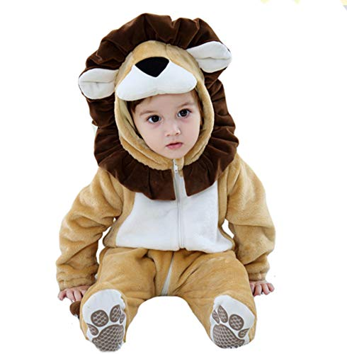 Tonwhar Baby Animal Bodysuit Halloween Costume (90 Ages 12-18 Months, Lion) -