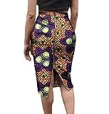Highisa Women's Short Skirts African Print Zip Plus Size Club Bodycon Skirt 3 6XL