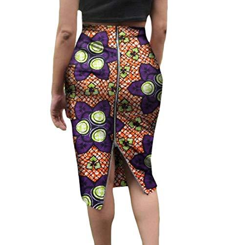 Highisa Women's Short Skirts African Print Zip Plus Size Club Bodycon Skirt 3 6XL by Highisa