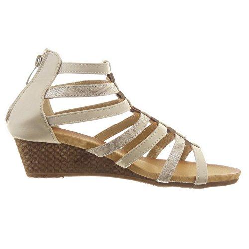 Sopily - Zapatillas de Moda Sandalias Gladiator Tobillo mujer brillantes Piel de serpiente multi-correa Talón Plataforma 4.5 CM - Beige