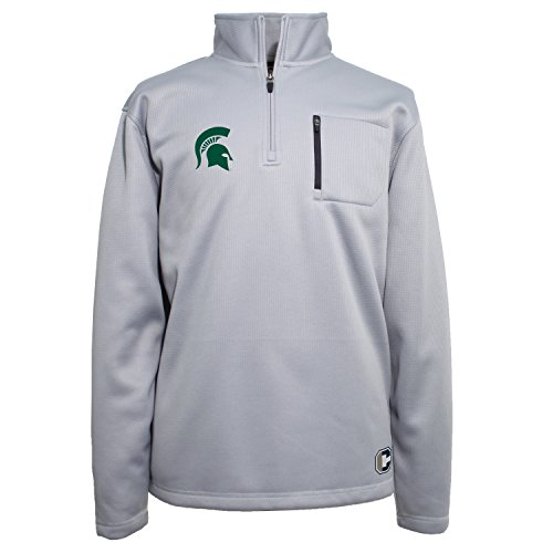 State Spartans Men's 1/4 Zip Textured Bonded Jacket, X-Large, Platinum ()