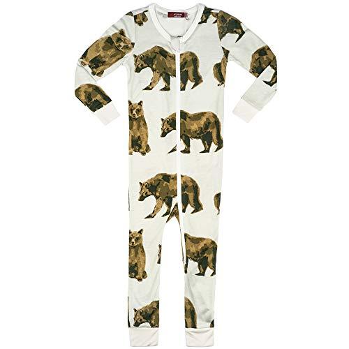 MilkBarn Bamboo Zippered Pajamas Bear Blue (12-18m)