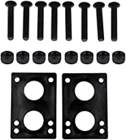 1 Set Skateboard Riser Pads Soft Truck Risers Longboard Bridge Gasket Mounting with Replacement Nuts Bolts (Bl