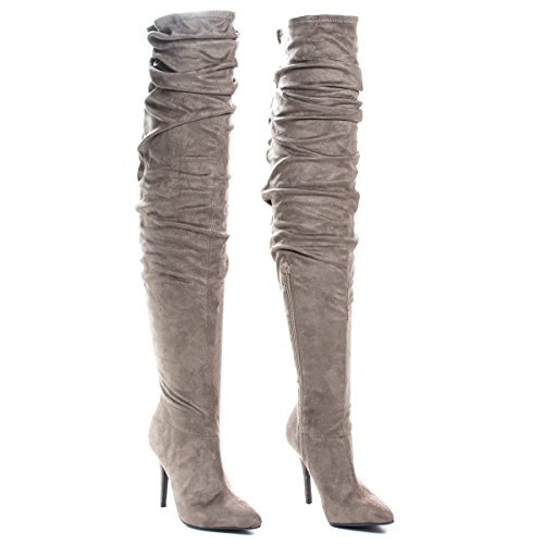 High Michelle Wrinkled Boots Dress Heel High Anne Thigh Taupe TIPaqwdd