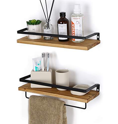 SODUKU Floating Shelves Wall Mounted Storage Shelves for Kitchen, Bathroom,Set of 2 Carbonized Black ()