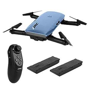 JJRC H47 ELFIE Drone con hd camara con 2 bateria Quadcopter 720P WIFI FPV Doblador Selfie Drone con sensor de gravedad Modo sin cabeza Modo de retención de altitud RTF - Azul