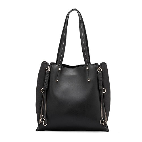 Melie Bianco Handbag Tote (Melie Bianco Kelly Women's Large Top Handle Everyday Tote with Expandable Sides and Top Zipper Closure - Black)