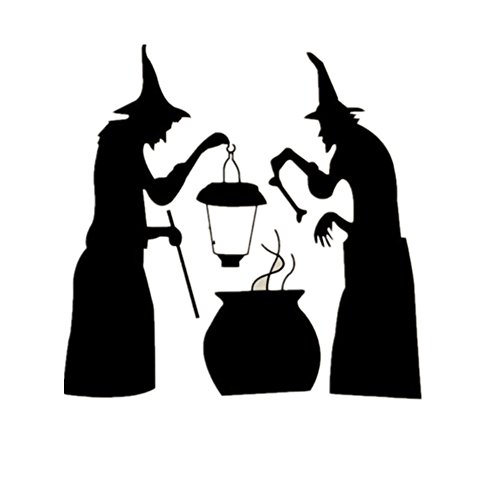 [Charberry Witch Halloween Window Home Decoration Decal Decor Wall Sticker] (Horror Makeup Value Kit)