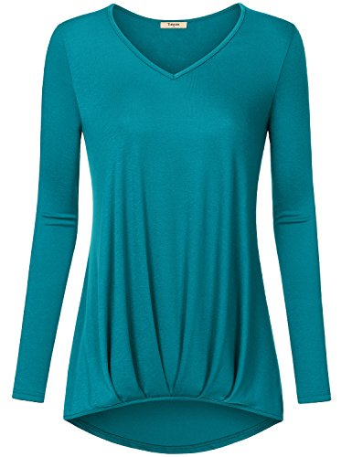 Timeson Designer Maternity Clothes, Women's V Neck Long Sleeve High Low Shirts Ruched Tunic Gathered Workout Loose Fit Top Aqua Green - Maternity T-shirts Designer