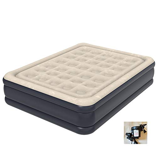 HUWAI-F Inflatable Air Bed Double Size Air Mattress Luxury Flocked Air Bed Mattress Portable Inflatable Double Airbed with Electric Pump, Elevated