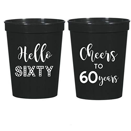 60th Birthday Black Stadium Plastic Cups - Hello 60, Cheers to 60 Years