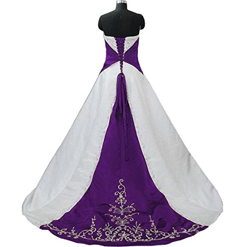 DingDingMail Strapless Satin Embroidery Purple and White Wedding Dress Lace Up with Sweep Train Bridal Wedding Gowns