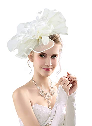 Women's Organza Church Kentucky Derby Fascinators Tea Party Bridal Hat Mesh Cocktail Headwear Feather Hats White_AC -
