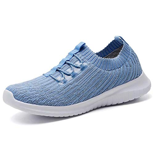 LANCROP Women's Athletic Walking Shoes - Casual Mesh Lightweight Running Slip On Sneakers