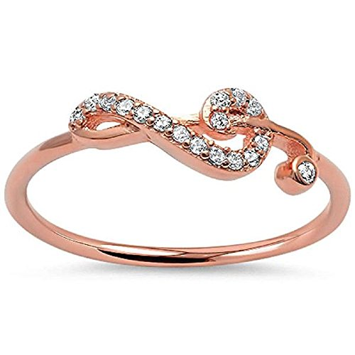 Cubic Zirconia Sideway Swirl Music Note Ring Rose Gold-Tone Plated Silver Size 6 (Swirl Silver Plated)