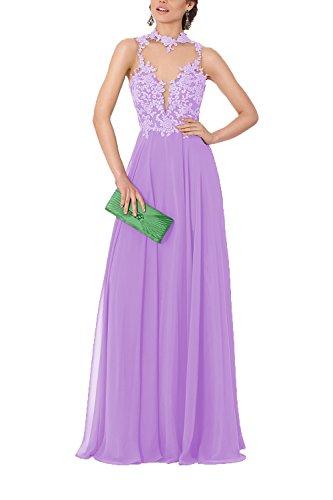 763defa0998 Home Brands DarlingU DarlingU Women s High Neck Illusion Prom Evening Party  Dresses Chiffon Appliques 2018 Lilac 16.   
