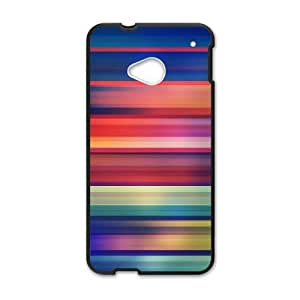 HTC One M7 Cell Phone Case Black Colorful Stripes 002 Delicate gift JIS_336482