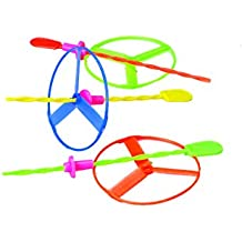 US Toy Twisty Flying Saucers Helicopter Toys - Package of 12 Assorted Colors