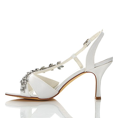 Sandales Mariée Talon De Femme Blanc Chaussures Jia Strass 1415a Mi Ouvert Bout Mariage Pour En Satin EqnBwvxzA