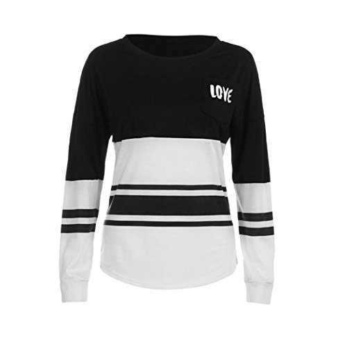 Vovotrade Hot Sale Fashion Women's Love Printed Blouse Casual Loose Long Sleeve Tops Loose T-Shirt (Black, - Branded Clearance Online