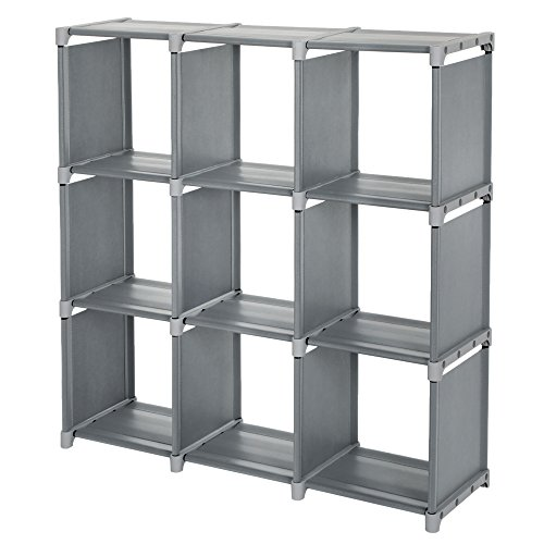 SONGMICS 9 Cube DIY Storage Shelves Open Bookshelf Closet Organizer Rack Cabinet Gray ULSN45GY (Interlocking Metal Shelf)