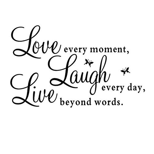 Amaonm Removable Vinyl Quotes and Saying Dr. Seuss Live Every Moment, Laugh Every Day, Live Beyond Words Family Wall Decal Stickers Murals Home Art Decor