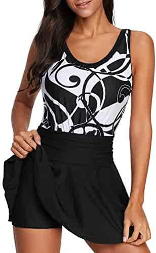 1e1efef2a2 BLENCOT Women's V Neck Printed Two Piece Swimdress Back Lace Up Swimsuits  Bathing Suit