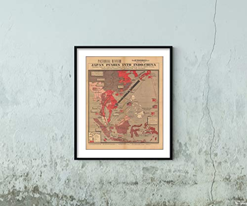 (Map|Pictorial Review : Japan pushes into Indo-China 1941|Vintage Fine Art Reproduction|Size: 20x24|Ready to Frame )