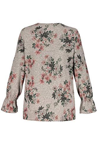 Donna Mit Felpa 13 Sweatshirt Ulla Popken Blumenprint hellgrau Grigio EpUXXq