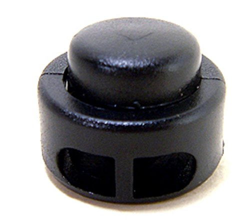 FMS Double Hole Kettle Drum Cord Lock Plastic Spring Stop Toggle Stoppers (10 Pack)(Black)