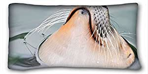 Custom Animal Custom Cotton & Polyester Soft Rectangle Pillow Case Cover 20x36 inches (One Side) suitable for Full-bed