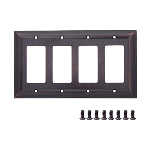 AmazonBasics Quadruple Gang Light Switch Wall Plate, Oil Rubbed Bronze, 1-Pack